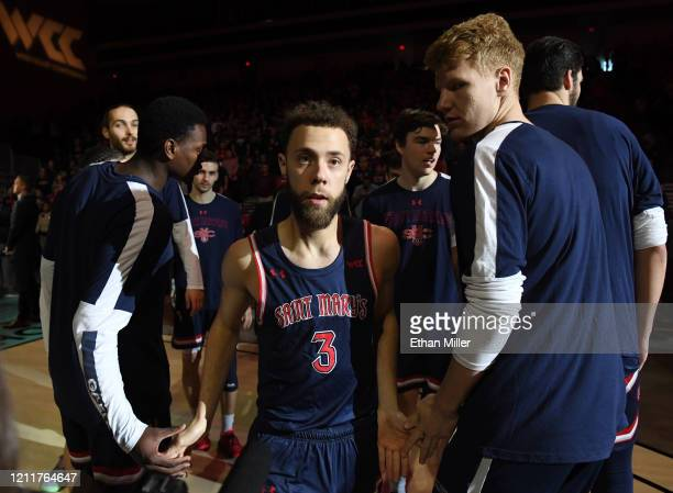 Jordan Ford of the Saint Mary's Gaels is introduced before taking on the Gonzaga Bulldogs in the championship game of the West Coast Conference...