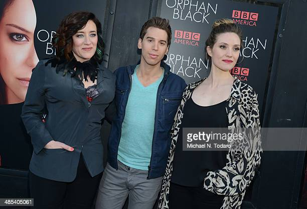 Jordan Garvaris Maria Doyle Kennedy and Evelyn Brochu attend the Orphan Black premiere at Sunshine Cinema on April 17 2014 in New York City