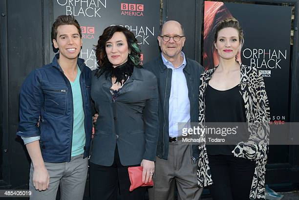Jordan Gavaris Maria Doyle Kennedy Perry Simon and Evelyn Brochu attend the Orphan Black premiere at Sunshine Cinema on April 17 2014 in New York City