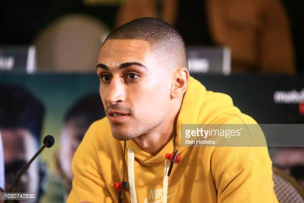 Jordan Gill speaks to the media during a press conference with boxing promoter Eddie Hearn at The Courthouse Hotel on September 13 2018 in London...