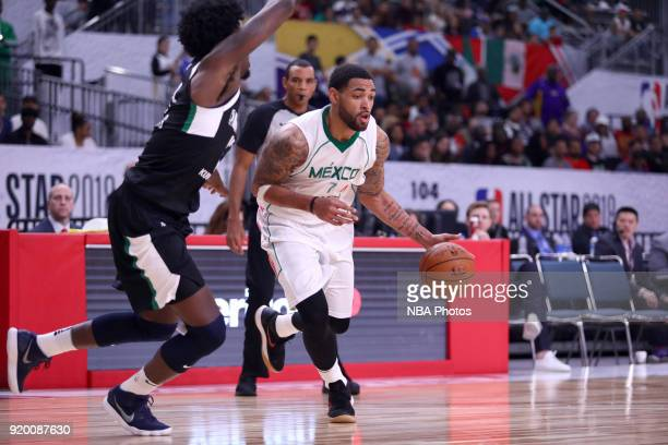 Jordan Glynn of the Mexico National Team handles the ball against the USA Team during the 2018 NBA G League International Challenge presented by...