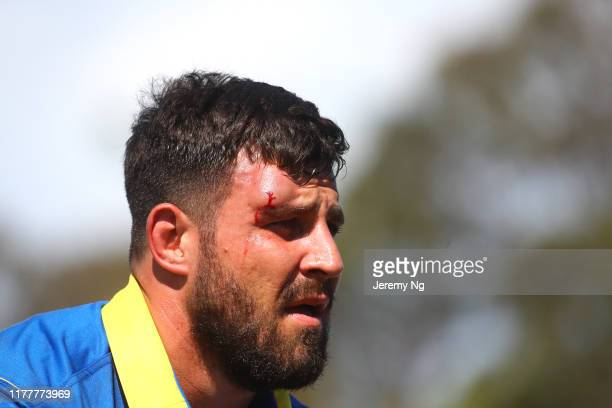 Jordan Goddard of Sydney is seen with a head cut during the round 5 NRC match between Sydney and Melbourne Rising at Forshaw Rugby Park on September...
