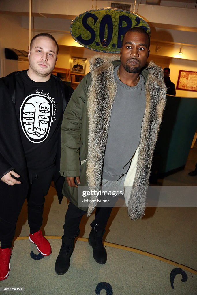 Jordan Gold and Kanye West attend SOB's on December 4, 2014, in New York City.