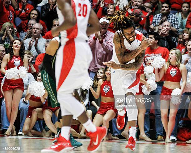 Jordan Goodman of the New Mexico Lobos celebrates after scoring during their match against the Colorado State Rams at The WisePies Arena on January 3...