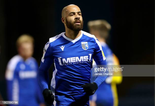 Jordan Graham of Gillingham FC looks on during the Sky Bet League One match between Gillingham and Peterborough United at MEMS Priestfield Stadium on...