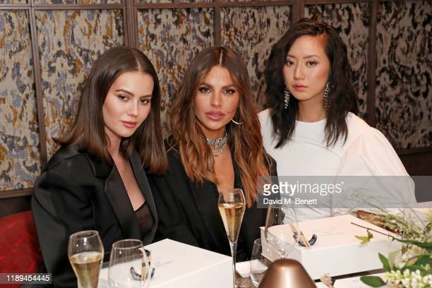 Jordan Grant Misse Beqiri and Betty Bachz attend the Decorte Dinner at The Arts Club on December 18 2019 in London England