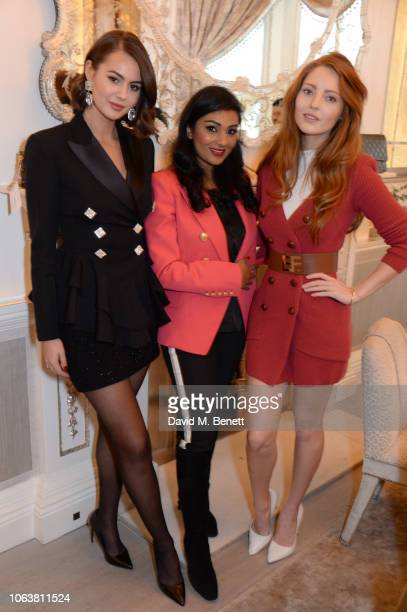 Jordan Grant Sabrina Sadiq and Elle Dowling attend an intimate lunch hosted by Luxury Promise at Annabel's on November 05 2018 in London England