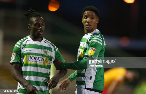 Jordan Green and Rhys Browne of Yeovil Town line up to defend a free kick during the Sky Bet League Two match between Yevoil Town and Northampton...