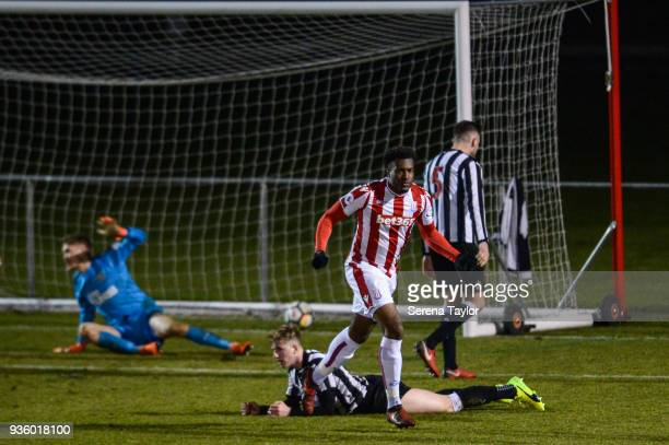 Jordan Greenidge of Stoke City celebrates after he scores the opening goal during the Premier League 2 match between Newcastle United and Stoke City...
