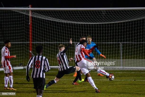 Jordan Greenidge of Stoke City scores the opening goal during the Premier League 2 match between Newcastle United and Stoke City at Whitley Park on...