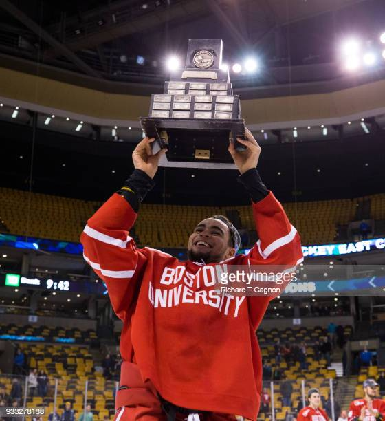 Jordan Greenway celebrates after the Terriers won the Hockey East Championship 20 against the Providence College Friars during NCAA hockey in the...