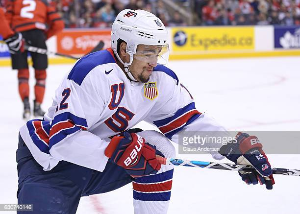 Jordan Greenway of Team USA celebrates a goal against Team Canada during a preliminary round game in the 2017 IIHF World Junior Hockey Championship...