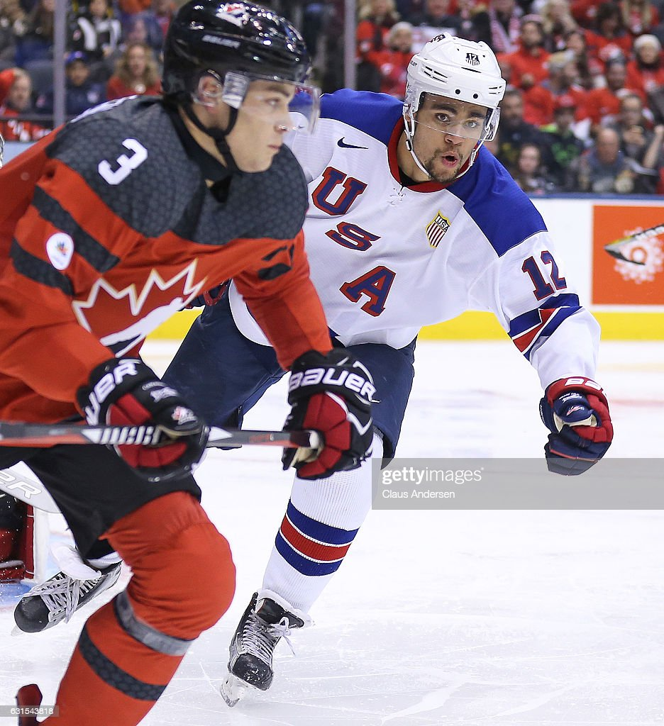 Jordan Greenway #12 of Team USA skates against Team Canada during a preliminary round game in the 2017 IIHF World Junior Hockey Championship at the Air Canada Centre on December 31, 2016 in Toronto, Ontario, Canada. The USA defeated Canada 3-1.