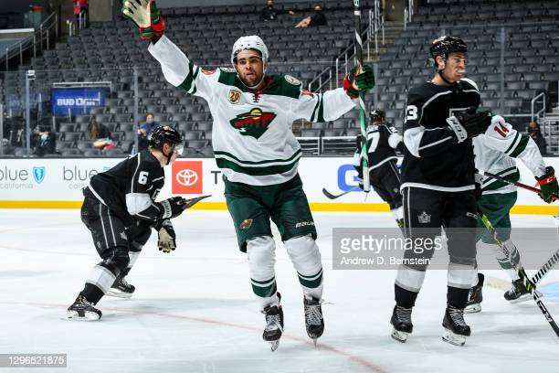Jordan Greenway of the Minnesota Wild celebrates during the third period at STAPLES Center on January 14, 2021 in Los Angeles, California.