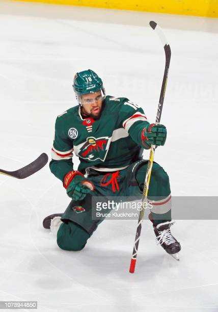 Jordan Greenway of the Minnesota Wild celebrates his 2nd period goal during a game with the Calgary Flames at Xcel Energy Center on December 15, 2018...