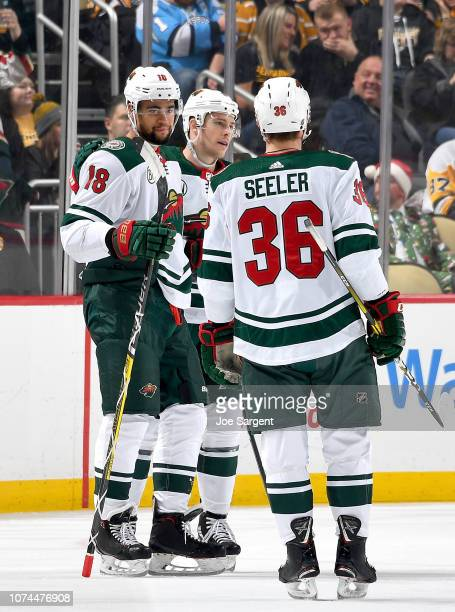 Jordan Greenway of the Minnesota Wild celebrates his first period goal against the Pittsburgh Penguins at PPG Paints Arena on December 20, 2018 in...