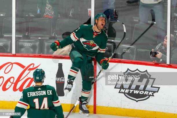 Jordan Greenway of the Minnesota Wild celebrates his goal against the Colorado Avalanche during the game at the Xcel Energy Center on November 21,...