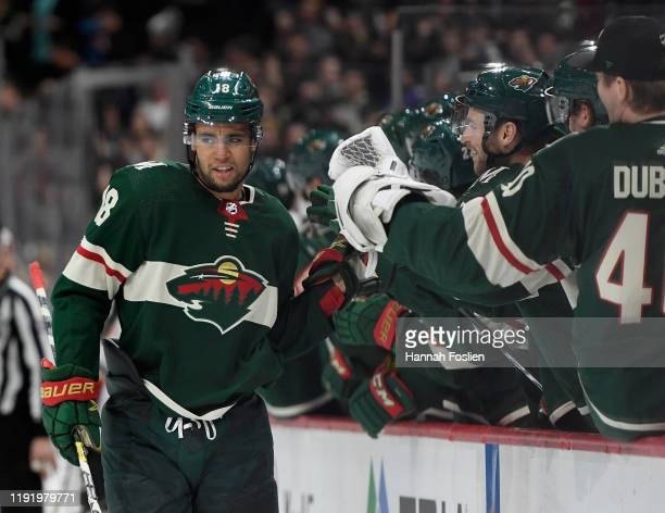 Jordan Greenway of the Minnesota Wild celebrates scoring a goal against the Calgary Flames during the third period of the game at Xcel Energy Center...