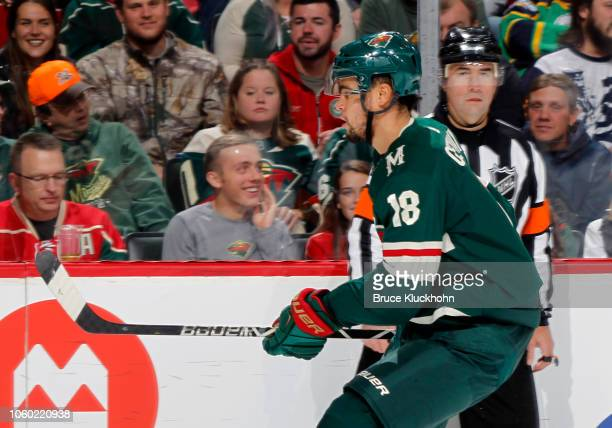 Jordan Greenway of the Minnesota Wild follows the play during a game between the Minnesota Wild and Tampa Bay Lightning at Xcel Energy Center on...