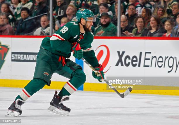 Jordan Greenway of the Minnesota Wild follows the play during a game with the Winnipeg Jets at Xcel Energy Center on April 2, 2019 in St. Paul,...
