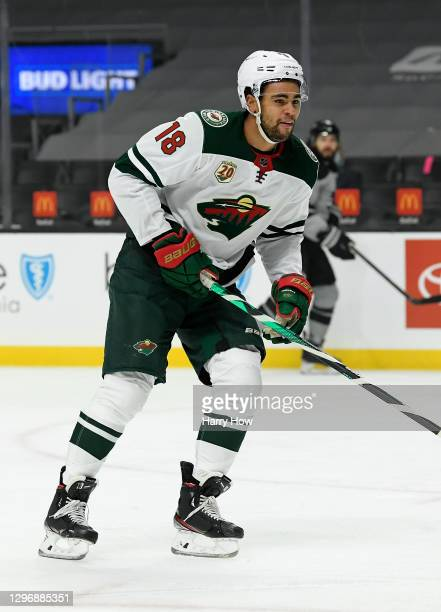 Jordan Greenway of the Minnesota Wild forechecks during a 4-3 overtime win over the Los Angeles Kings at Staples Center on January 16, 2021 in Los...
