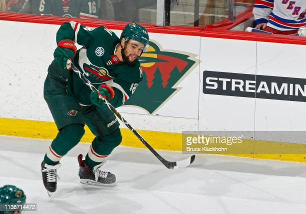 Jordan Greenway of the Minnesota Wild makes a pass during a game with the New York Rangers at Xcel Energy Center on March 16, 2019 in St. Paul,...