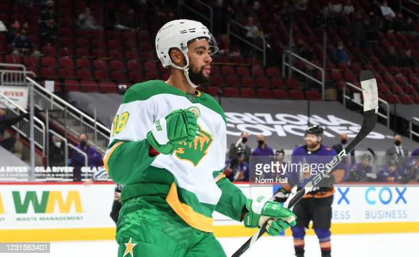 Jordan Greenway of the Minnesota Wild pumps his fist after scoring a goal against the Arizona Coyotes during the first period of the NHL hockey game...