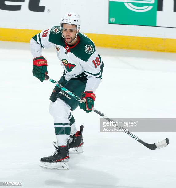 Jordan Greenway of the Minnesota Wild skates against the Anaheim Ducks during the third period of the game at Honda Center on January 20, 2021 in...