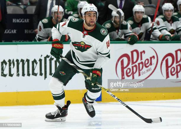 Jordan Greenway of the Minnesota Wild skates against the Dallas Stars at the American Airlines Center on October 29, 2019 in Dallas, Texas.