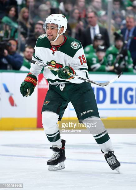 Jordan Greenway of the Minnesota Wild skates against the Dallas Stars at the American Airlines Center on February 7, 2020 in Dallas, Texas.
