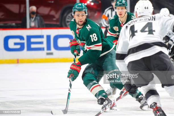 Jordan Greenway of the Minnesota Wild skates against the Los Angeles Kings during the game at the Xcel Energy Center on January 28, 2021 in Saint...