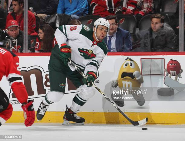 Jordan Greenway of the Minnesota Wild skates against the New Jersey Devils at the Prudential Center on November 26, 2019 in Newark, New Jersey.