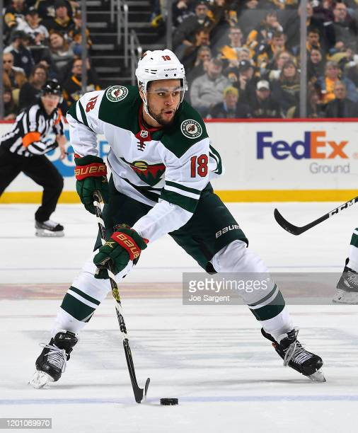 Jordan Greenway of the Minnesota Wild skates against the Pittsburgh Penguins at PPG PAINTS Arena on January 14, 2020 in Pittsburgh, Pennsylvania.