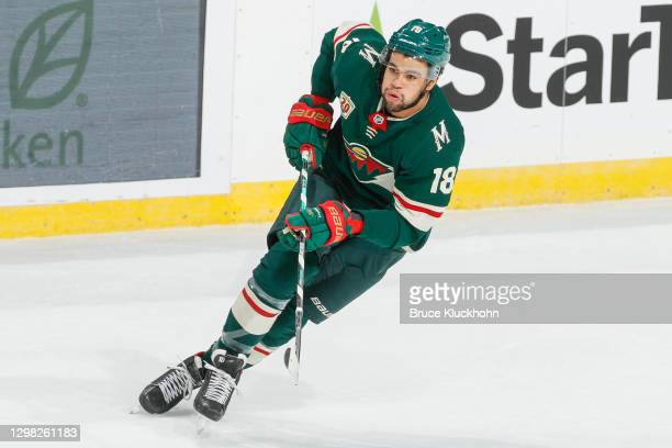 Jordan Greenway of the Minnesota Wild skates against the San Jose Sharks during the game at the Xcel Energy Center on January 22, 2021 in Saint Paul,...