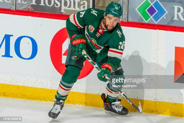 Jordan Greenway of the Minnesota Wild skates against the St. Louis Blues during the game at the Xcel Energy Center on April 28, 2021 in Saint Paul,...