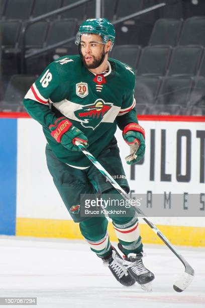 Jordan Greenway of the Minnesota Wild skates against the Vegas Golden Knights during the game at the Xcel Energy Center on March 10, 2021 in Saint...