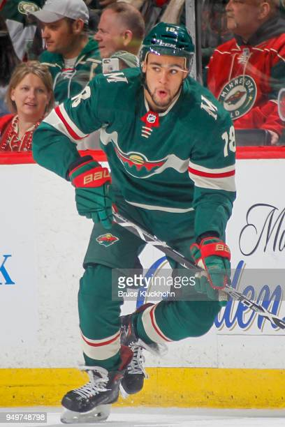Jordan Greenway of the Minnesota Wild skates against the Winnipeg Jets in Game Three of the Western Conference First Round during the 2018 NHL...