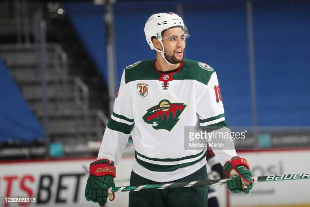 Jordan Greenway of the Minnesota Wild skates during a break in the action against the Colorado Avalanche at Ball Arena on February 2, 2021 in Denver,...