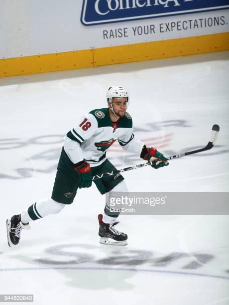 Jordan Greenway of the Minnesota Wild skates during a NHL game against the San Jose Sharks at SAP Center on April 7 2018 in San Jose California...