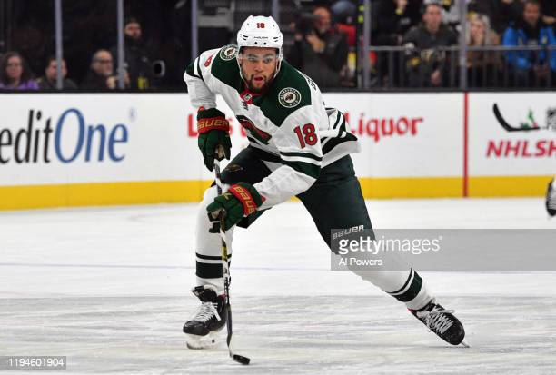Jordan Greenway of the Minnesota Wild skates during the first period against the Vegas Golden Knights at T-Mobile Arena on December 17, 2019 in Las...
