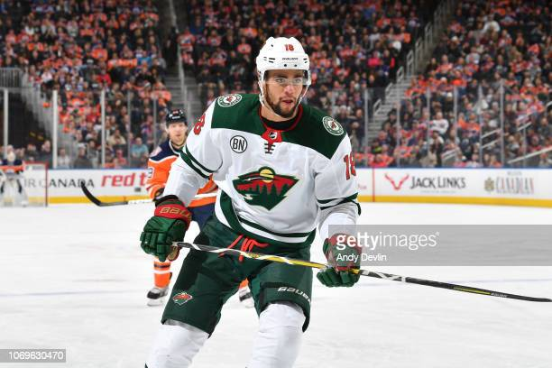 Jordan Greenway of the Minnesota Wild skates during the game against the Edmonton Oilers on December 7, 2018 at Rogers Place in Edmonton, Alberta,...