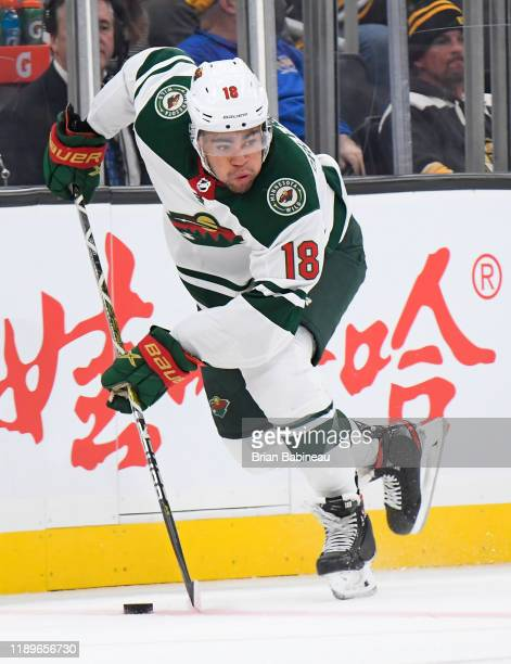 Jordan Greenway of the Minnesota Wild skates with the puck against the Boston Bruins at the TD Garden on November 23, 2019 in Boston, Massachusetts.