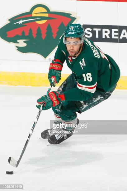Jordan Greenway of the Minnesota Wild skates with the puck against the San Jose Sharks during the game at the Xcel Energy Center on January 22, 2021...