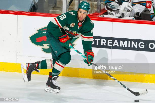 Jordan Greenway of the Minnesota Wild skates with the puck against the San Jose Sharks during the game at the Xcel Energy Center on January 24, 2021...