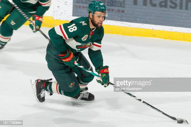 Jordan Greenway of the Minnesota Wild skates with the puck against the Vegas Golden Knights during the game at the Xcel Energy Center on May 5, 2021...