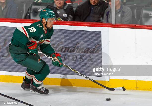 Jordan Greenway of the Minnesota Wild skates with the puck during a game with the Vancouver Canucks at Xcel Energy Center on November 15, 2018 in St....