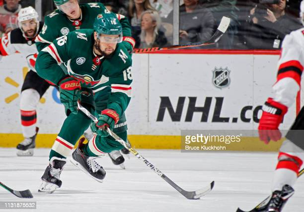 Jordan Greenway of the Minnesota Wild skates with the puck during a game with the New Jersey Devils at Xcel Energy Center on February 15, 2019 in St....