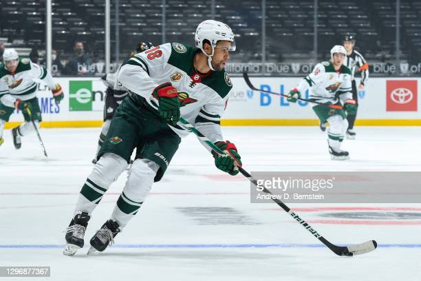 Jordan Greenway of the Minnesota Wild skates with the puck during the first period against the Los Angeles Kings at STAPLES Center on January 16,...