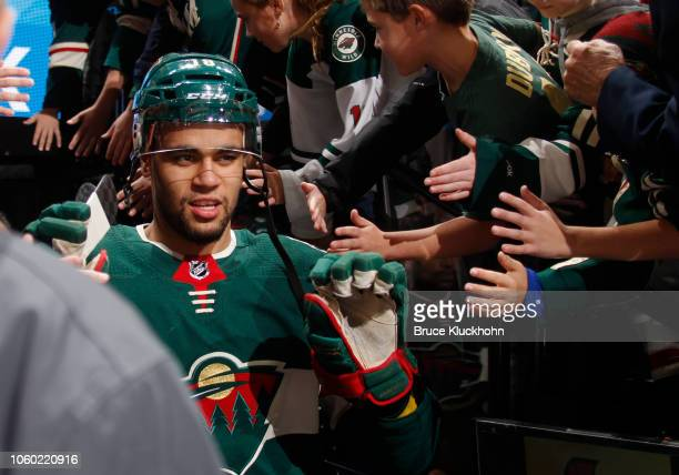 Jordan Greenway of the Minnesota Wild takes the ice during a game between the Minnesota Wild and Tampa Bay Lightning at Xcel Energy Center on October...