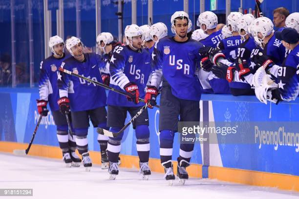 Jordan Greenway of the United States celebrates after scoring a goal on Gasper Kroselj of Slovenia in the second period during the Men's Ice Hockey...